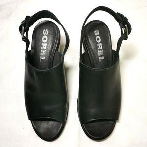 Sorel Nadia Black Leather Dlingback Sandals
